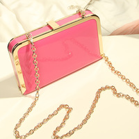 winter candy color Square Box PU leather evening bags 2013 mini chain women's handbag small messenger bag  Quilted day clutches