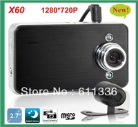 Dual Camera Car DVR 140 degrees wide Angle 2.7inch LCD HD1280*720P free shipping X60