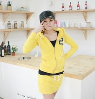 Han edition qiu dong outfit ladies leisure sports clothes skirt 2 fleece suit