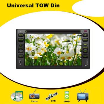 Universal 2 DIN Car DVD Head Unit with GPS Radio TV Bluetooth iPOD USB/SD, Russian menu, Audio Video Player, Free 4GB Map Card