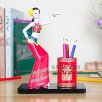 Free Shipping Chinese Minority Pen Stand Holder Handwork Porcelain Paint Brush Pot Vintage Embossment Chinese Pen Box