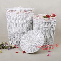 Liubian rustic rattan storage basket miscellaneously storage box bucket storage basket Large white laundry basket