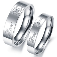 Best selling LOCK & KEY engraving couple ring Rings For Women stainless steel ring attractive men jewelry hot fashion  313