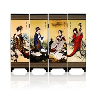 Free Shipping Chinese Folding Screens 4 Fans Beauty Paintings Chinese Silk Screen Vintage Landscape Decorative Arts for Home