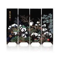 Free Shipping 4 Panels Panda Paintings Chinese Silk Screen Vintage Mini Screen  Home Business Sovenir Party Gifts