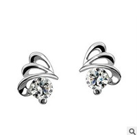 Y-041 925 silver stud earrings silver earrings rhyme flow Dielian female models