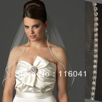 Free Shipping Crystal Wedding Bridal Veil Cheap 1T one layer Elbow Tulle Bridal Accessory