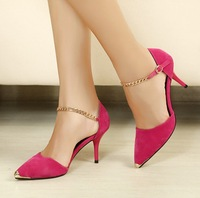 2013 sweet velvet pointed toe single shoes women's shoes metal decoration high-heeled cutout thin heels gladiator