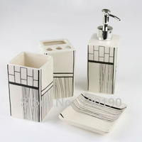 Fashion 4pcs Porcelain Bathroom Supplies Set 4 patterns to choose Porcelain Bathroom Wash Tools Set  Hotel Bathroom