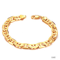 Wedding man 18k gold plated chain bracelets for man wholesale fashion gold bangle  men jewelry 162