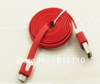 100pcs/lot 2M colorful V8 micro usb data sync charger noodle flat color cable for samsung HTC S4 I9300 ,Free FEDEX or DHL
