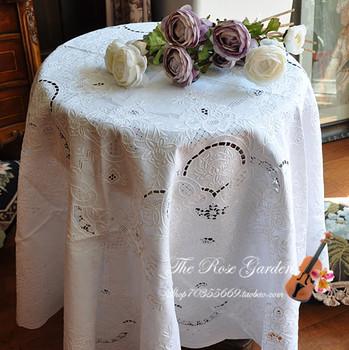 Royal handmade white linen 165cm round table cloth