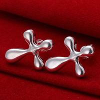 EO34 free shipping, Minimum order is 10 U.S. dollar(mix order)High quality fashion charm 925 silver jewelry Cross earrings