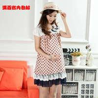 Fashion Summer Maternity Dress Chiffon Skirt Polka Dot Bow one-piece Dress,Free shipping,BK3000