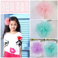 Female child hair accessory  accessories silk yarn big flower hairpin side-knotted clip duckbill clip free shipping