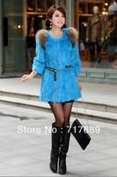 2013 new arrival high quality rabbit fur fight skin raccoon fur collar long coat jacket Slim Factory Direct