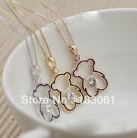 Gorgeous hot   Lovely mini teddy bear  free shipping  3pcs lot fashion necklaces