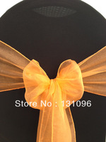 100pcs Top Quality Gold Orange  Snow Organza Sash For Wedding Event &Party Decoration
