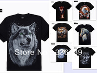 DROP SHIPPING,2013 Men's t shirts Top Brand ,European and American style wolves and tigers o-Neck male Short T shirts,LY190