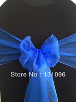 100pcs Top Quality Royal Blue  Snow Organza Sash For Wedding Event &Party Decoration