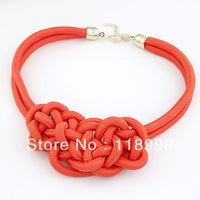 2013 NEW Arrival Free Shipping Fashion Neon Candy Colored Braided Statement Choker Necklace Christmas Gift