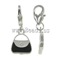 Free shipping!!!Zinc Alloy Lobster Clasp Charm,Brand, Handbag, enamel, nickel, lead & cadmium free, 12x27x3mm