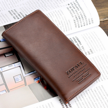High quality cowhide male long design wallet quality cowhide wallet purse multifunctional card holder gift bag