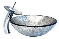 Popular Color Bathroom Washbasin Tempered Glass basin & Water Faucet Set VK5017