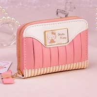 Sweety Pink Hello Kitty GENUINE LEAHTER Credit Card Holder Bag Korean Multi-card Bit Cute Cartoon Women Card Bags Great Gift