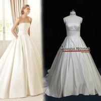 Amazing Fashion Designer New Wedding Dress 2012 Satin with Pocket