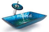 Blue Color Bathroom Washbasin Tempered Rectangular Glass basin & Water Faucet Set VK5018
