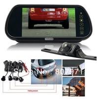7 inch In-Car Rear View Mirror LCD Monitor Parking Sensor + Reversing Camera