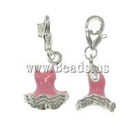 Free shipping!!!Zinc Alloy Lobster Clasp Charm,Designs, Garment, enamel, pink, nickel, lead & cadmium free, 14x34x12mm