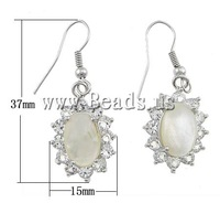Free shipping!!!Shell Earrings,Vintage, White Shell, brass hook, Oval, platinum color plated, with rhinestone, 15x37x6mm