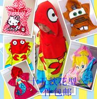 Free shipping 100% cotton baby bath towel hooded bathrobes cap bathrobe child cloak mantissas cartoon beach towel