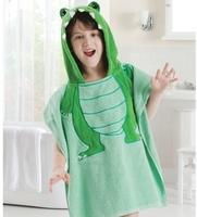 Free shipping Cotton 100% toweled animal child cartoon hooded towel bathrobe bathrobes beach towel child swimwear