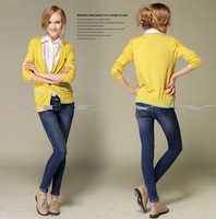 Badges side button bump color pocket knit cardigan