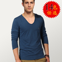 All saints male heart-shaped collar t-shirt fashion solid color long-sleeve slim V-neck basic shirt plus size