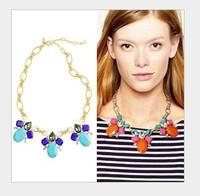 Fashion orange blue gem necklace