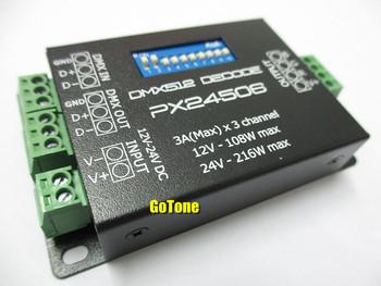 PX24506 DMX Decoder Driver 3X3A DMX 512 RGB LED Controller 12V~24V