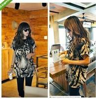 Hot sale!Women BLACK Tiger Head Print Short Sleeve T-Shirt Tee Tunic Top -S01