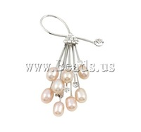 Free shipping!!!Freshwater Pearl Brooch,Brand jewelry, Cultured Freshwater Pearl, with Brass, Flower, pink, 7-8mm, 40x72mm