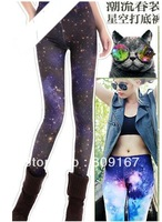 free shipping Spring and summer milk silk gradient sky universe graffiti tie-dye tight leggings 2pcs
