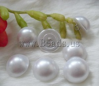 Free shipping!!!Plastic Pearl shank button,ladies, with Brass, Dome, white, 10mm, 100PCs/Bag, Sold By Bag