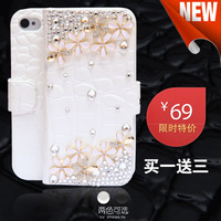 Free shipping For iphone  4 holsteins a11 rhinestone small wildflowers  for apple   4 mobile phone case iphone4 s phone case