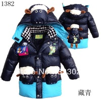 Winter warm cotton-padded jacket coat boys cotton-padded jacket lamb Outerwear