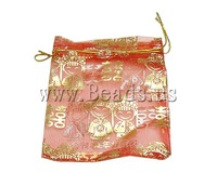 Free shipping!!!Jewelry Drawstring Bags,Brand jewelry, Organza, printing, translucent, red, 100x120mm, 100PC/Bag, Sold By Bag