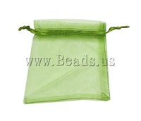Free shipping!!!Jewelry Drawstring Bags,Trendy, Organza, translucent, green, 100x120mm, 100PC/Bag, Sold By Bag