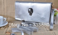 2013 new design wallet lady handbags magnetic buckle clasp bag skull single shoulder bag free shipping!