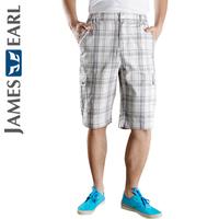 Jamesearl men's clothing trousers male casual shorts beach pants 100% cotton grey check